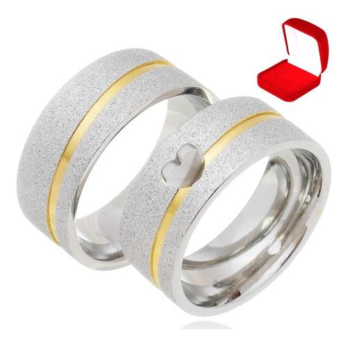 Par Alianças Compromisso Prata Namoro Coração Vazado 8mm