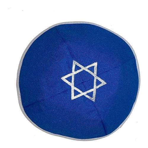 Kipá Judaico Azul Com Estrela Davi Branca - Envio Imediato!