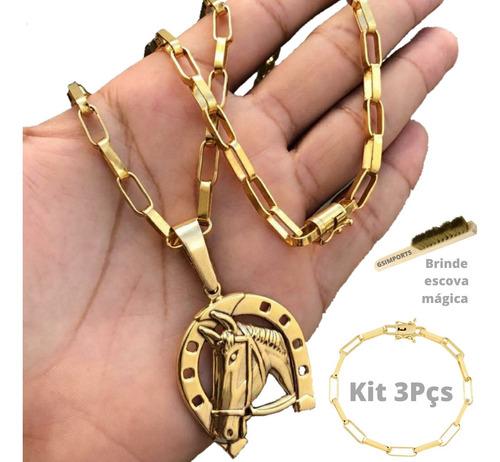 Cordao Moeda Antiga 70cm+pulseira+pingente Não Limpa Direto