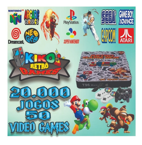 Vídeo Game Retrô Box - 20mil Jogos + 4 Controles + Adaptador