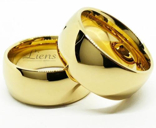 Par De Aliança 10mm Tungstênio Banhada A Ouro 18k Casamento