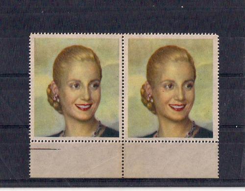 Viñetas Estampillas X 2 De Eva Perón, Peronismo, 6 X 5,2 Cm.