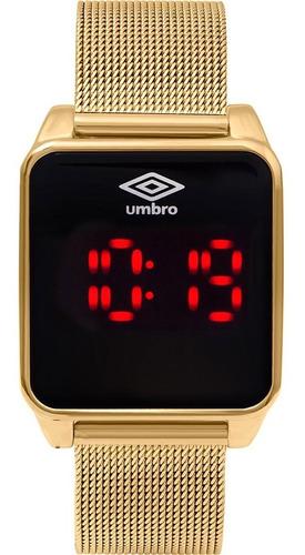 Relógio Digital Led Feminino Umbro Touch Screen Dourado