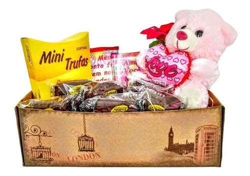 Cesta De Chocolate Ursinho Kit - Presente Pelúcia Namorados