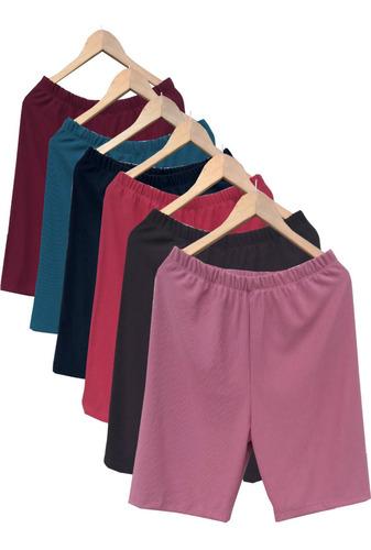 Kit Com 5 Bermudas Gorgurão Feminina Plus Size Promoção