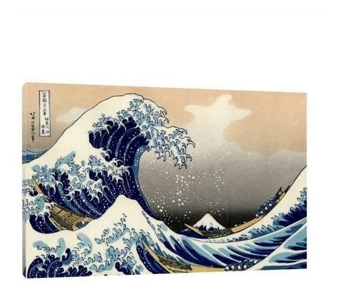 Quadro A Grande Onda De Kanagawa 120x80 Moldura Preta