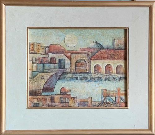 Arte Uruguayo Pintura Óleo Marco 34 Cm Por 30 Cm Sobre Tela