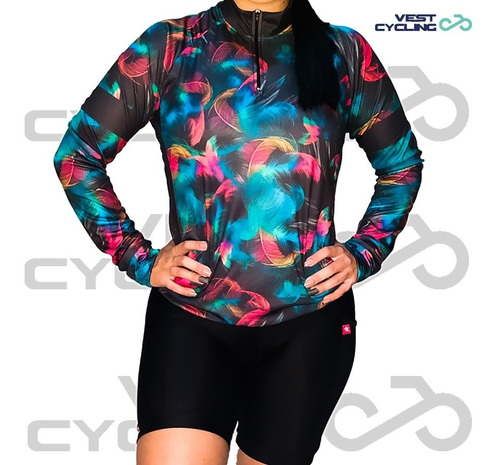 Camisa Camiseta Ciclismo Be Fast Penas Manga Longa Feminina