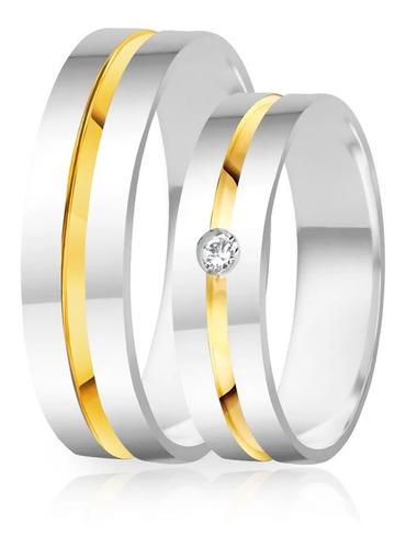 Alianças De Compromisso Prata 950 Polida Com Ouro 5.0 Mm