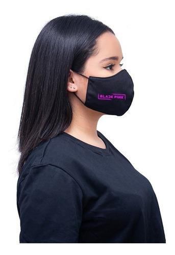 Máscara Lavável Banda Black Pink Personalizada Com Elástico