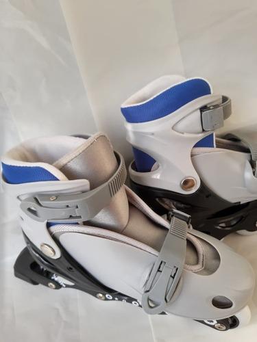 Patins Roller In Line Cinza Azul Infantil Inline Em Linha