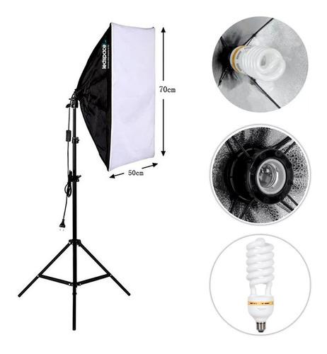 Kit Estúdio: Tripé Iluminação Softbox 50x70 Lâmpada 150w