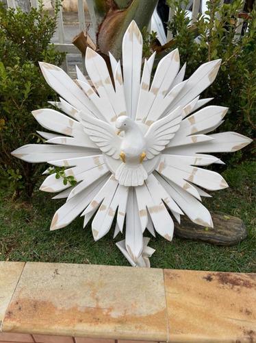 Divino Espírito Santo Madeira Dupla P/ Parede Branco - 70cm
