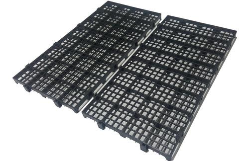 20pc Palete Estrado Plástico Preto 2,5x25x50cm Piso Plastico