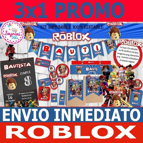 3x1 Promo Kit Imprimible Roblox Candy Bar, Deco, Banderin