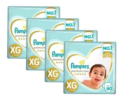 Kit Fralda Pampers Premium Care Jumbo Tamanho Xg 240 Unidade
