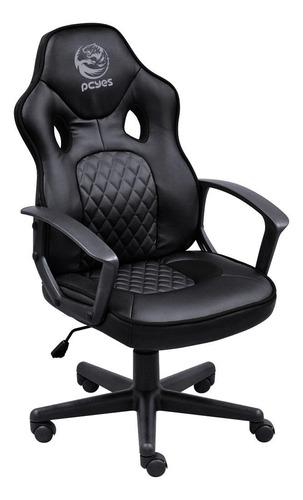 Cadeira De Escritório Pcyes Mad Racer Sti Master Gamer  Full Black Con Estofado Do Couro Sintético