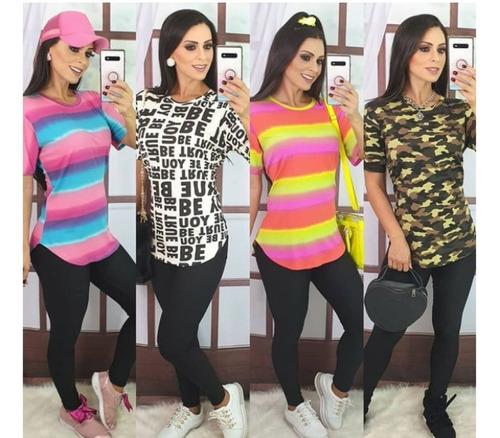 Blusão Vestido Feminino Camisão Estampado Top Colorido