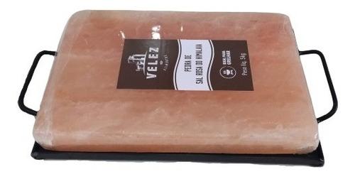 Pedra De Sal Himalaia 30x20x 4cm 5kg + Suporte  Metal