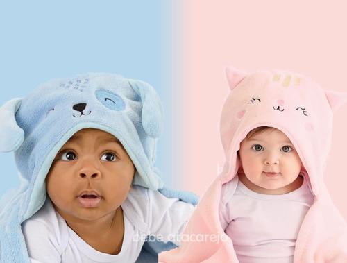 Cobertor Manta De Microfibra Com Capuz Bebê Mami Bichuus