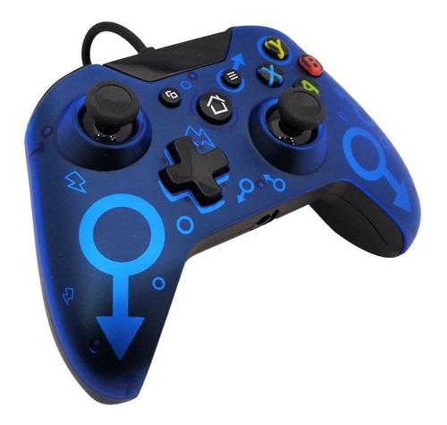 Controle Joystick Usb Com Fio Para Xbox One Azul