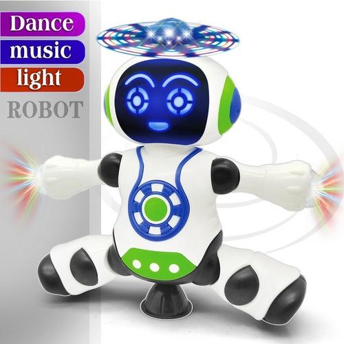 Brinquedo Robô Dança Gira 360 Graus Robot Som & Luz Yijun