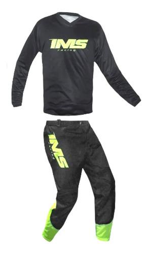 Conjunto Ims Mx Calça E Camisa Roupa Preto Motocross Trilha