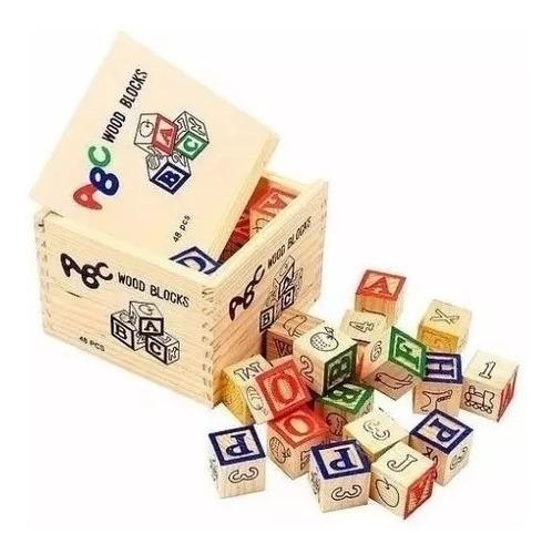 Alfabeto Madeira Caixa Bloco Alfabeto Cubo Letras Pedagógico