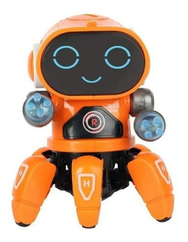 Robô Aranha Dançarino 6 Pernas Com Luz, Som E Movimento