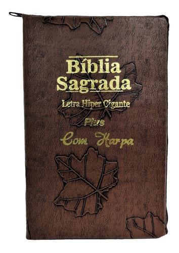 Bíblia Sagrada Letra Hiper Gigante Com Harpa - Ziper+ Índice