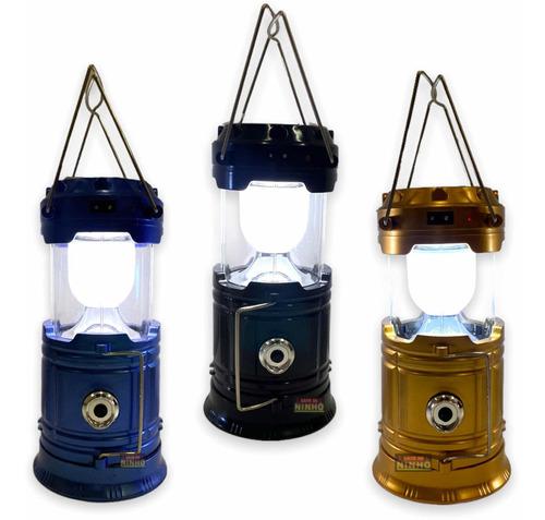 Lampião Lanterna Luminária Carregador Solar Camping Pesca