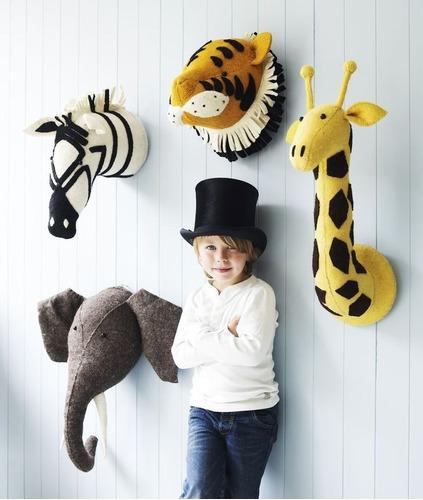 Cabezas De Animales Infantiles Para Decorar Y Colgar En 3d