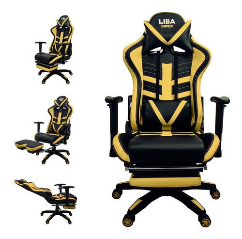 Cadeira Gamer Escritório Apoio Retrátil Ajustável Yellow/bk