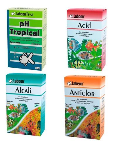 Kit Controle Alcon Teste Ph + Acid + Alcali + Anticlor  Full