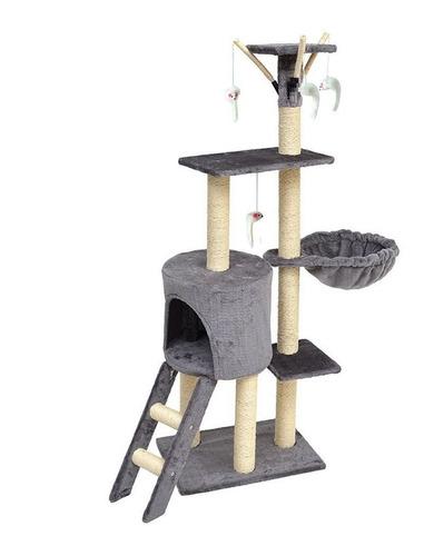 Torre Rascador Para Gatos Con 4 Niveles. 138cm - Importada