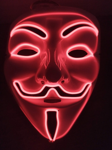 Mascara Cosplay Led Vendetta Neon A Pilha Varias Cores