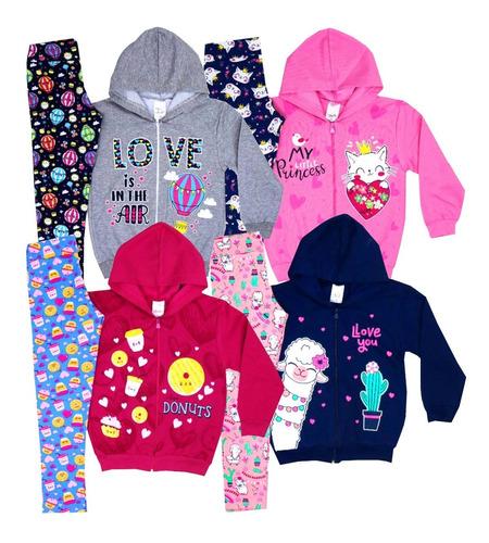 Kit 4 Conjuntos Moletom Infantil Feminino Inverno Menina