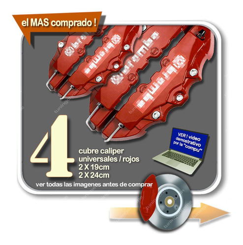 4 Cubre Caliper Universal 3d Rojo 2x 19  2x 24 Tuningchrome