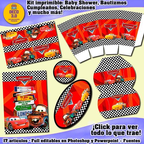 Kit Imprimible Editable Candy Bar Cars Cumpleaños Para Varon
