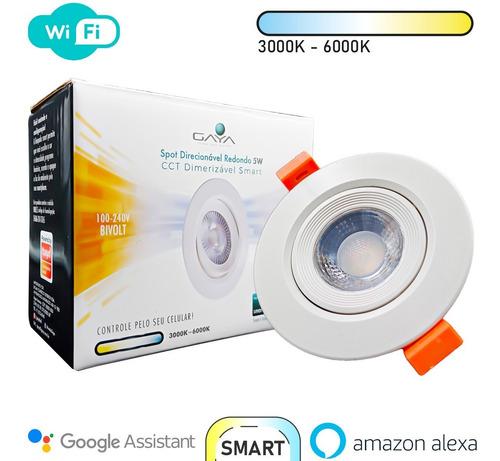 Spot Led Embutir Redondo Smart Direcionável Alexa 5w - Gaya