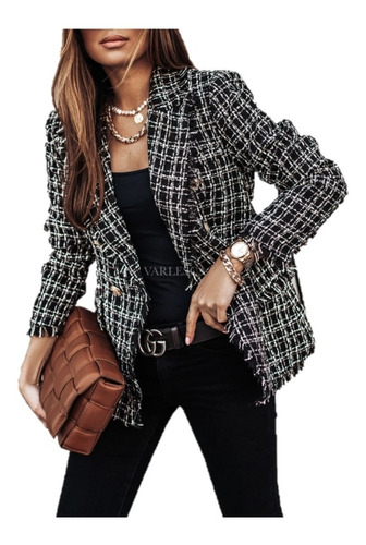 Jaqueta De Terno Feminina Fashion Xadrez Estampado Único Bre