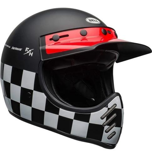 Capacete Bell Moto 3 Fasthouse Checkers Matte Gloss Retrô