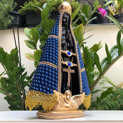 Nossa Senhora Aparecida 30cm Perola Azul Centro Preto
