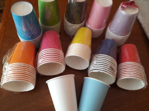 Vasos Descartables De Papel 200 Ml X 10 Un. Ideal Cumpleaños