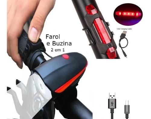 Kit Sinalizador Lanterna Acessório Bicicleta +faixa De Laser