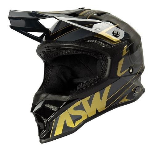 Capacete Asw Fusion 2.0 Blade Preto/dourado Motocross Trilha