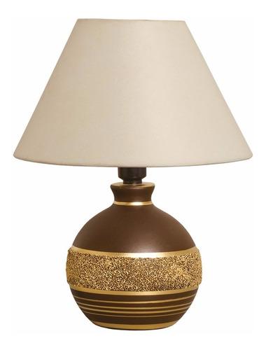Oferta!! Abajur Bivolt Decorativo Para Sala Marrom E Dourado