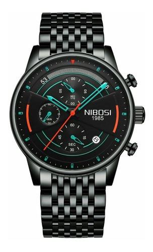 Relógio Preto Nibosi 2389 Luxo Blindado Aço Àprova De Água.