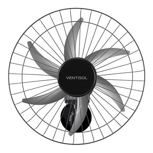 Ventilador De Parede Ventisol Steel Preto Com 6 Pás De Plástico, 50cm De Diâmetro 127v/220v