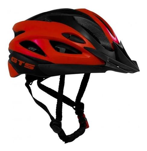 Capacete Com Sinalizador Led Ciclismo Bike Vermelho Preto